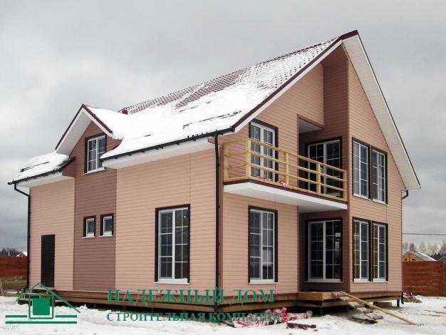 Строительство каркасного дома по индивидуальному проекту 12х11 м в городе Высоцк