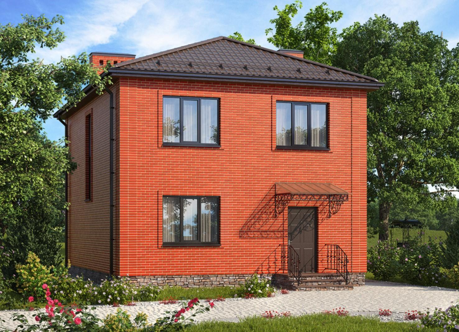 Дом из кирпича квадратной формы
