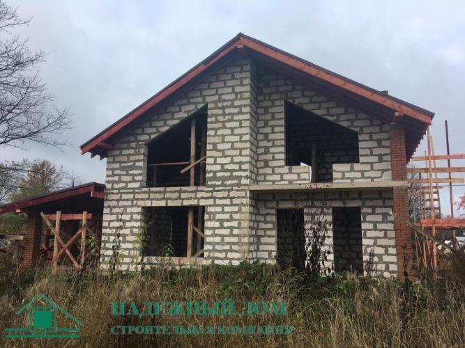 Дом из газобетона по проекту Лейден п. Ушаки